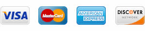 we accept visa, mastercard, american express, discover card